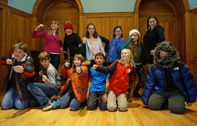 The Vermont Commons School sixth-graders show off their best Robin Hood poses. They've been reading the first installment of the Roybn Hoodlum Adventures series, inspired by the classic tale.
