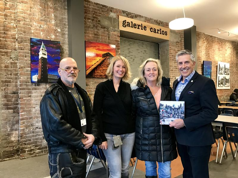 Carlos Anglarill, counselor at the Mission (and curator of the first exhibit in 2009), Denise Buisman Pilger, contributing artist, Karen Hosker, contributing artist and Gallerie Carlos curator and Matthew Pearce, President and CEO of Old Brewery Mission.