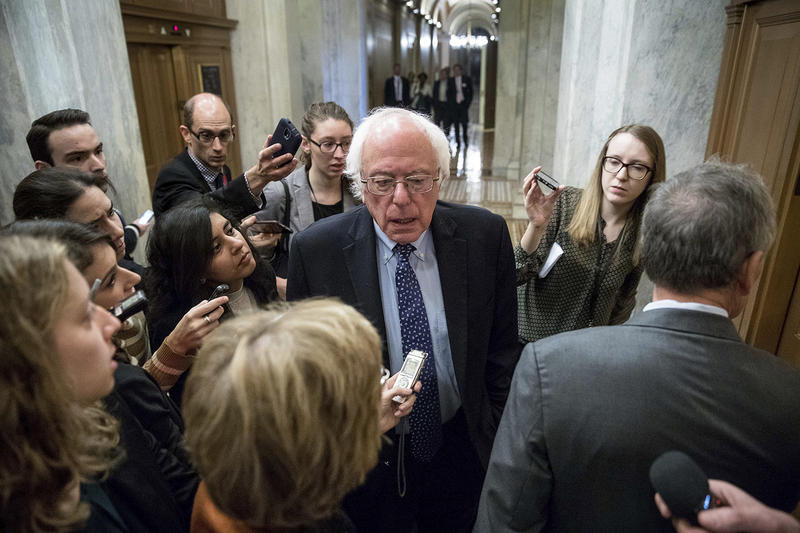 Sen. Bernie Sanders speaks to reporters on Capitol Hill in Washington on Nov. 16. Sanders says the Democratic Party needs to implement major changes if it hopes to be successful in the future.