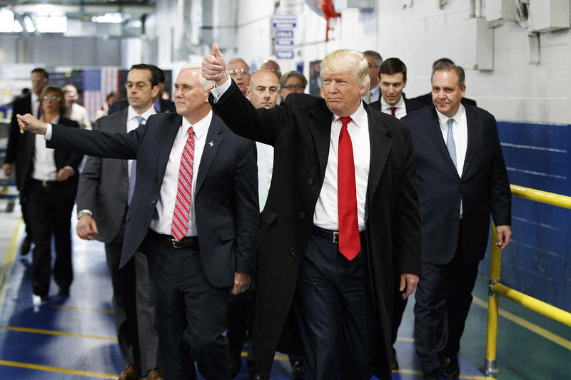 President-elect Donald Trump and Vice President-elect Mike Pence at the Carrier factory in Indiana on Dec. 1. Dartmouth political scientist Brendan Nyhan has been warning that the Trump presidency could undermine democratic norms.