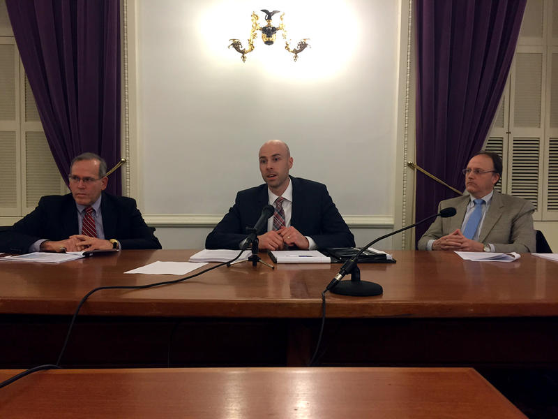 Don Vanslochem, John Schaeffer and David Weiher, from right, brief reporters Wednesday on the Vermont Health Connect report that their firm, Strategic Solutions Group, conducted for lawmakers.
