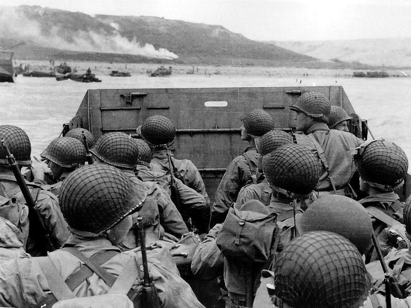 This photograph has become connected to the history of D-day. It shows Allied troops approaching Omaha beach.