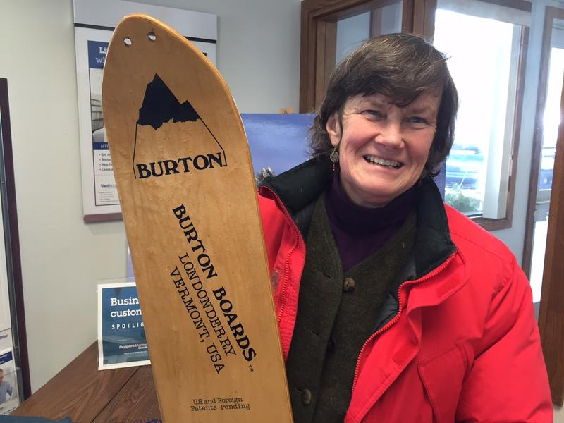 Mimi Wright worked with Jake Burton Carpenter in Londonderry during the first winter he made snowboards. Wright is now with the Londonderry Arts and Historical Society and the group wants to install a sculpture to honor that history.
