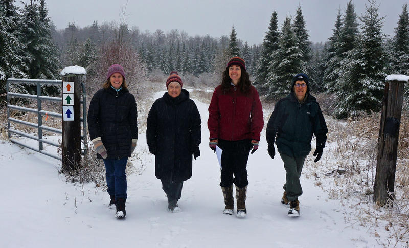 Abbie Bowker, left, Lucy McCullough, Kate Wanner and Melinda Scott take a stroll down one of the trails at the Catamount Outdoor Family Center. They are working together to turn the property into a town forest.