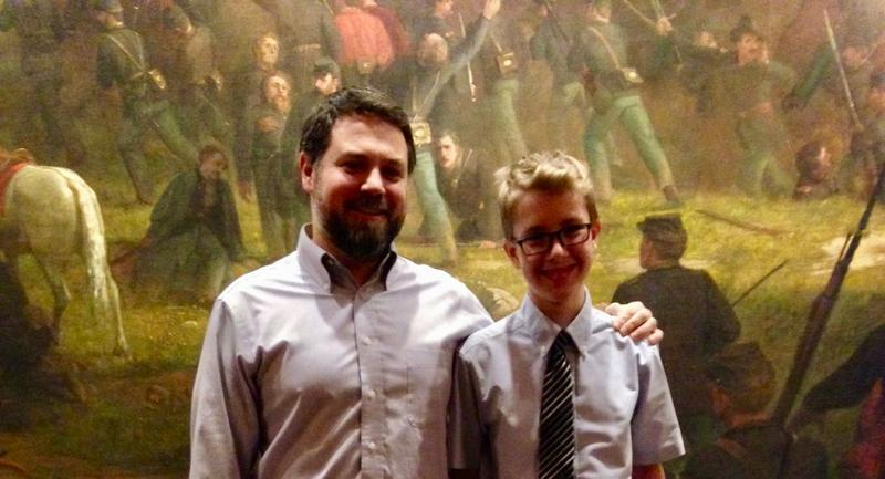 Music-COMP mentor Matt LaRocca and Montpelier's Colin Desch at the State House in 2016.