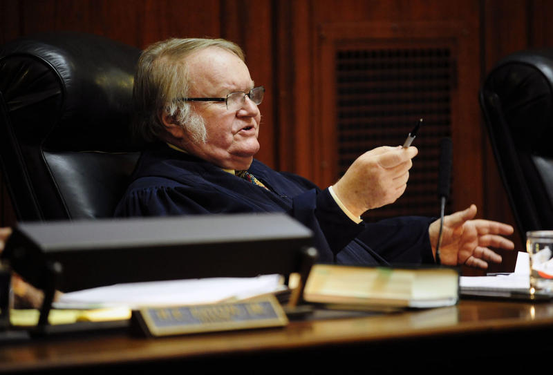 Justice John Dooley at the Vermont Supreme Court Tuesday. In September, Dooley announced he'd be leaving office in the spring of 2017. Gov. Peter Shumlin announced he planned to fill Dooley's seat; the court heard arguements on the matter Tuesday.
