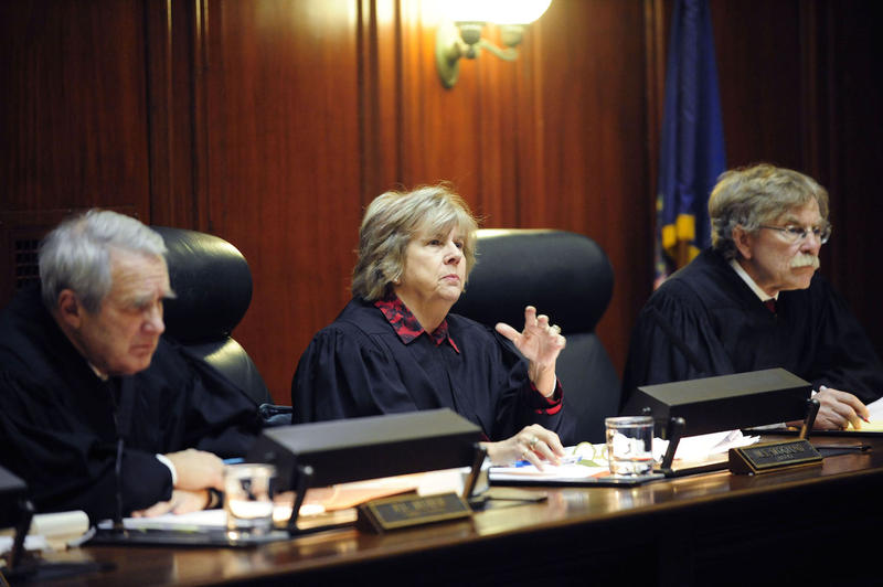 Justice Marilyn Skoglund, center, during Tuesday's proceedings. In a unanimous ruling Wednesday, the Vermont Supreme Court decided Gov. Peter Shumlin will not be allowed to appoint Justice John Dooley's replacement.