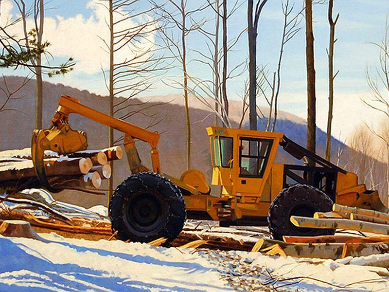 """""""Grapple Skidder,"""" is a painting by artist Kathleen Kolb. The piece is featured in """"Shedding Light On The Working Forest"""" exhibit currently on display at the University of Vermont Medical Center lobby in Berlin."""