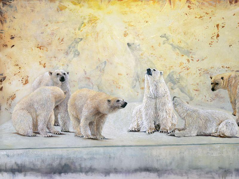 "This detail from Sally Linder's painting ""In Our Lifetime"" captures the polar bears who walked right up to the ship Linder was on when it got iced in."