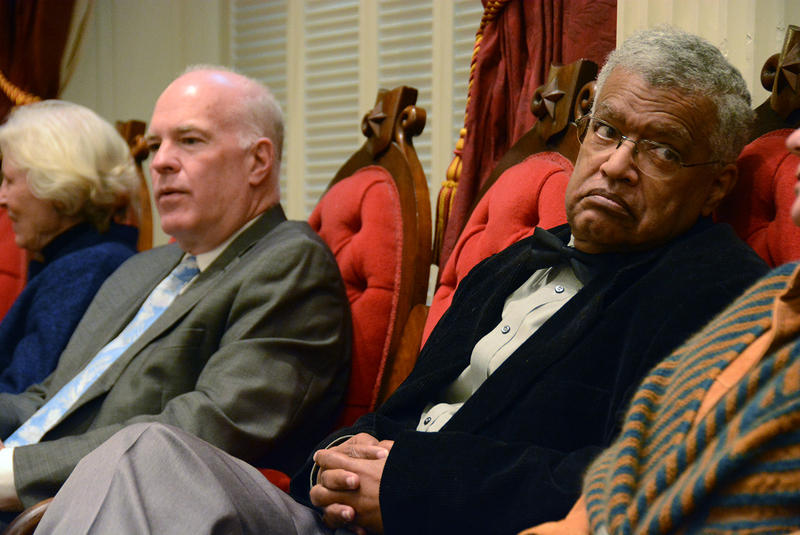 Newly-elected Washington County Sen. Francis Brooks, a former sergeant-at-arms, awaits Gov. Peter Shumlin's farewell address in the House Chamber Wednesday.