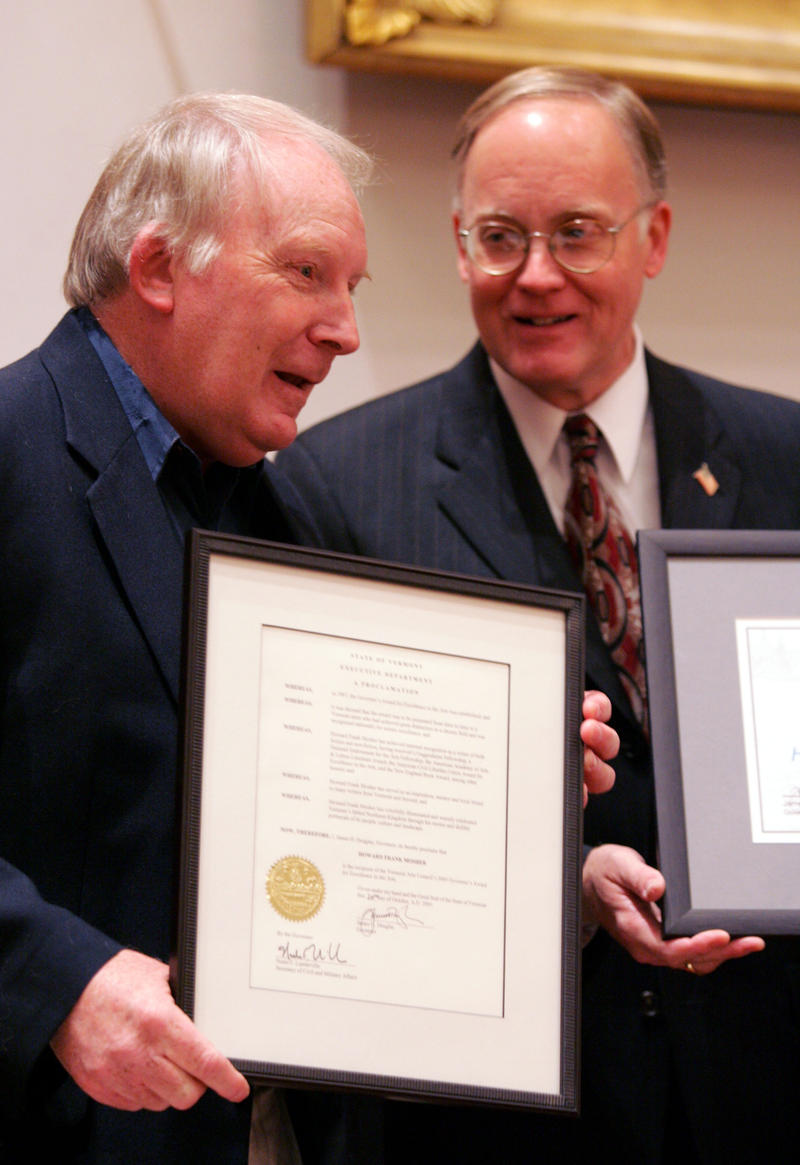 Howard Frank Mosher, left, was the recipient of the 2005 Governor's Award for Excellence in the Arts. Here he is pictured having been presented the award by then Gov. Jim Douglas at a Nov. 4, 2005 ceremony in Montpelier.