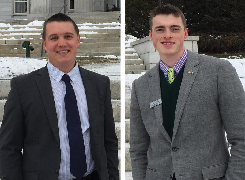 Rep. Ben Jickling, left, and Rep. Jay Hooper, right, stand outside the Vermont Statehouse on Jan. 10. Both are serving their first term representing the Orange-Washington-Addison district in the Vermont House.