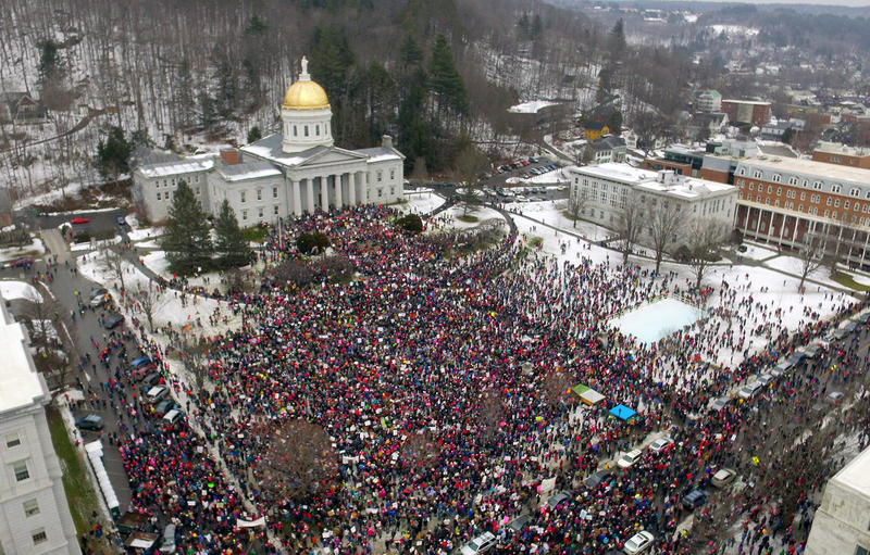 Graham Swaney, a senior at Mount Mansfield Union High School, documented the Montpelier Women's March and Unity Rally with his aerial camera.