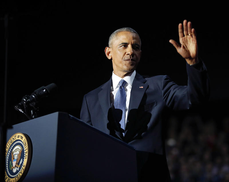 President Barack Obama waves as he speaks during his farewell address at McCormick Place in Chicago, on Tuesday, Jan. 10.