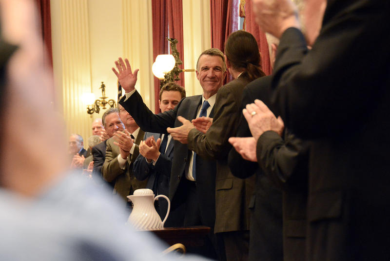 Gov. Phil Scott, Vermont's 82nd governor, gives a wave after delivering his inaugural address at the Vermont Statehouse in Montpelier on Thursday, Jan. 5.