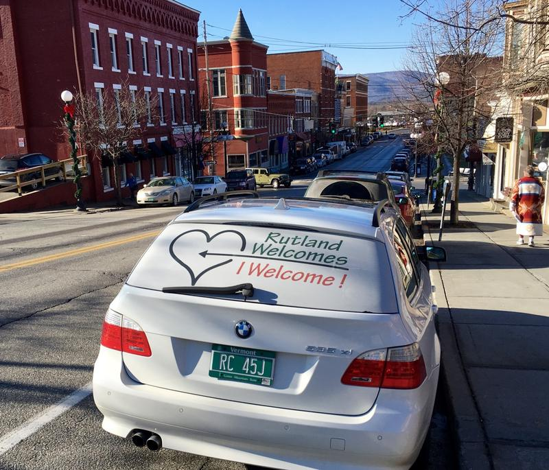 A car owned by Rutland Resident Jennifer Jacob touts her family's support of welcoming new Syrian fefugees who began arriving in town this week.