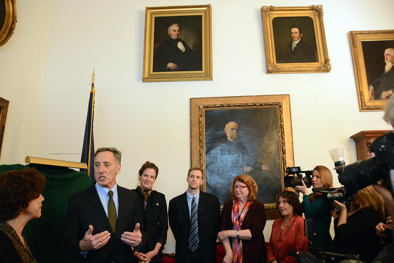 Gov. Peter Shumlin speaks in his ceremonial office before the unveiling of his portrait, which will take its place on the walls of the Statehouse with portraits of Shumlin's predecessors.