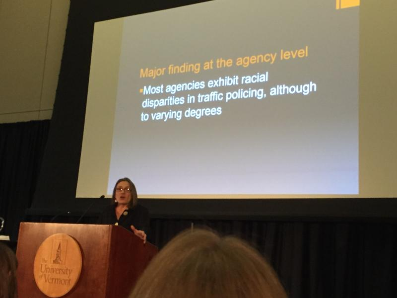 Stephanie Seguino presents data on police traffic stops in Vermont at a press conference at UVM on Jan. 9.