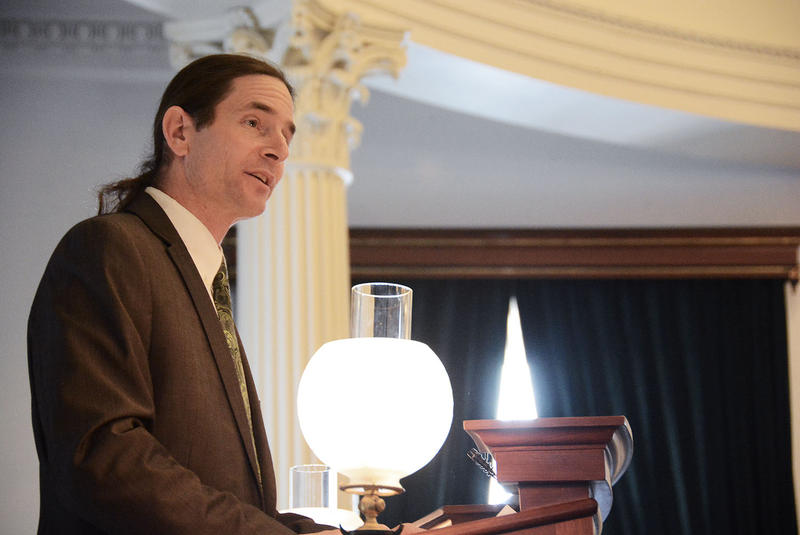 After taking the oath of office, Lt. Gov. David Zuckerman addressed those gathered in the Senate chamber.