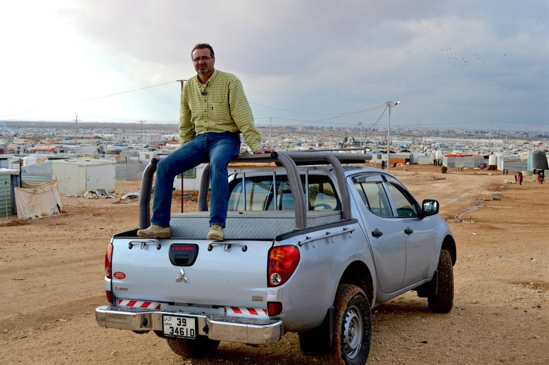 "Ihab Mhutaseb is what's known as a ""fixer"": someone who helps foreign journalists cover stories. He's pictured here at the Zaatari Refugee Camp in Jordan, just south of the Syrian border."