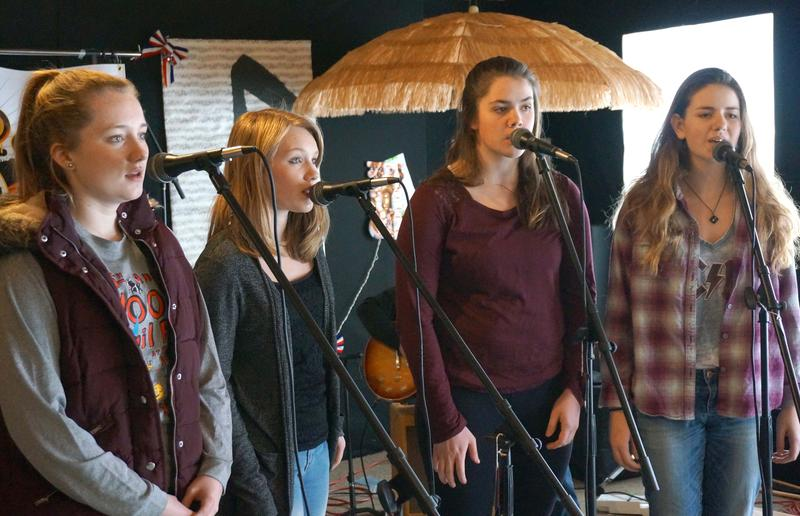 Kingdom All Stars vocalists Rory Young, left, Jordan Barbour, Ally Morrison and Halie Bean work on some four-part harmony.