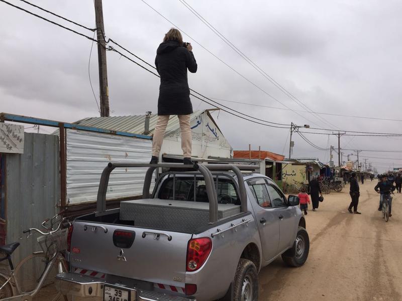 VPR's Nina Keck on the job in Zaatari refugee camp, Jordan, January 2017.
