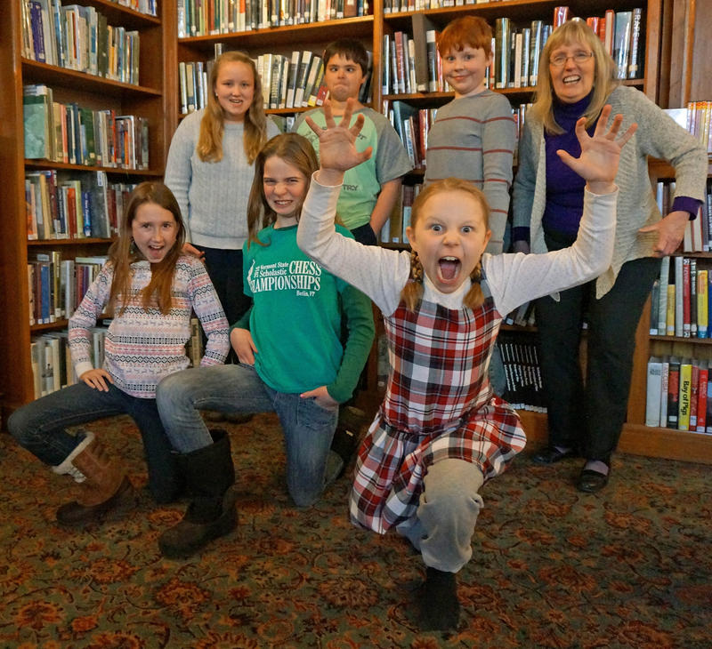 "Readers in St. Johnsbury practice their roller derby ""war faces"" after reading Victoria Jamieson's graphic novel ""Roller Girl."""