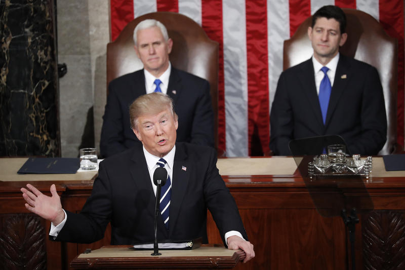 President Donald Trump with Vice President Mike Pence and House Speaker Paul Ryan during his remarks Tuesday.