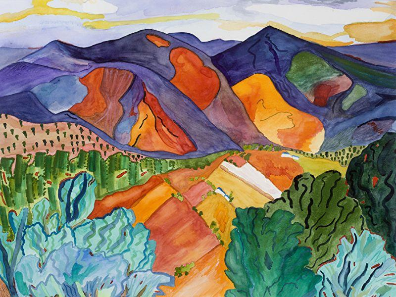 "This painting, ""Hills Are Alive"" is by Vermont artist Maureen Sheldon whose current exhibit of her works across all media is up through the end of February at Newberry Market."