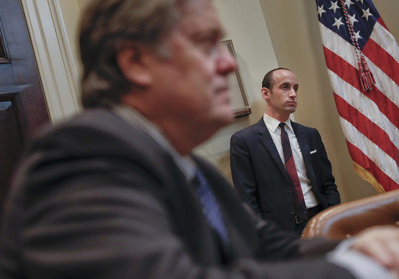 White House Chief Strategist Steve Bannon, left, and Senior Adviser Stephen Miller helped craft the executive order that enacted a chaotic immigration ban. Vermont's elected leaders are exploring legal maneuvers to oppose that and other orders.