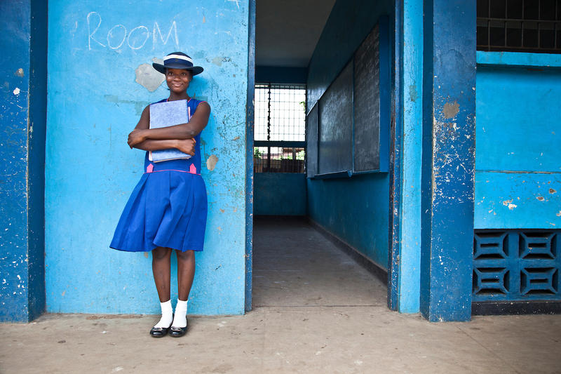 A girl attends school in Freetown, Sierra Leone. The stories of girls whose lives are transformed through education are told in the project 'Girl Rising.'