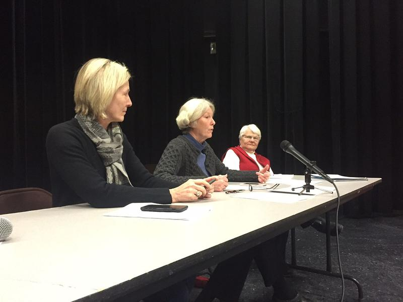 Rep. Kitty Toll, left, Sen. Jane Kitchel and Rep. Martha Feltus heard support for child care subsidies and higher-education increases at a public hearing in St. Johnsbury Monday.