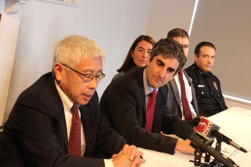From left: Vermont Health Commissioner Harry Chen, Burlington Mayor Miro Weinberger, Chittenden County State's Attorney Sarah George, UVM Medical Center Chief Medical Office Stephen Leffler and Burlington Police Chief Brandon del Pozo.