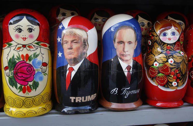 Traditional Russian wooden dolls depicting Russian President Vladimir Putin and President Donald Trump, for sale in St. Petersburg, Russia. Vermont's senators are calling for investigations into possible collusion between Trump's campaign and Russia.