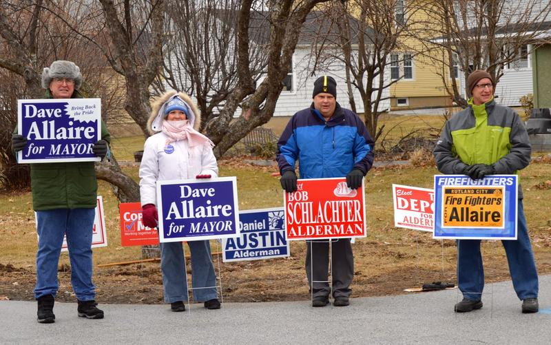 An off-duty Rutland City firefighter campaigned for David Allaire during Rutland City's mayoral election. A challenger has pointed out this violates the city's charter.