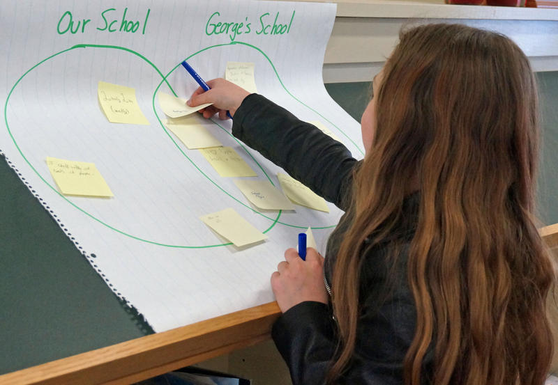 Ashley Pratt adds a sticky note to a Venn diagram that a group of sixth graders at the Mettawee Community School used to examine the similarities and differences between their school and the elementary school in the book 'George' by Alex Gino.
