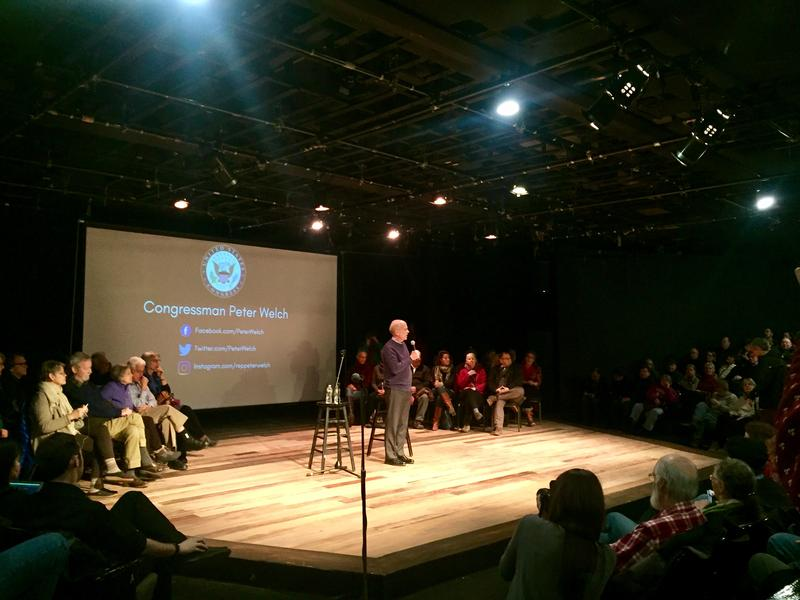 Congressman Peter Welch at his first town hall meeting since Trump's inauguration in January. Welch spoke to a full house in the Briggs Opera House in White River Junction.