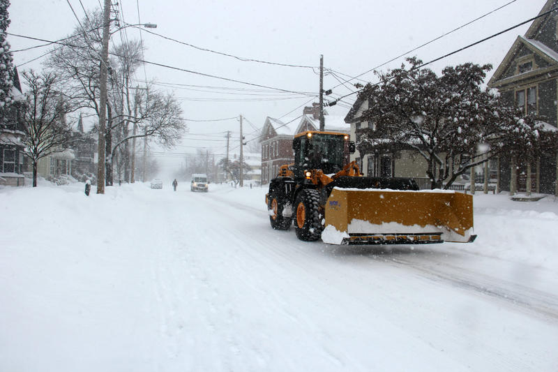 Heavy equipment used for the snow removal effort made its way down North Winooski Street in Burlington Wednesday morning.