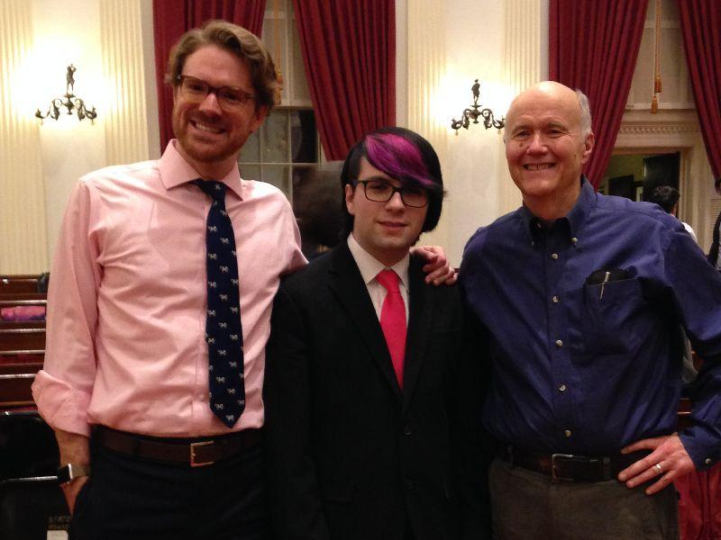 Student Composer Jacob Dennison (center) with mentor Erik Neilsen (right) and VSO Executive Director Ben Cadwallader (left) at the Vermont Symphony Orchestra's Farmer's Night concert in January 2017.