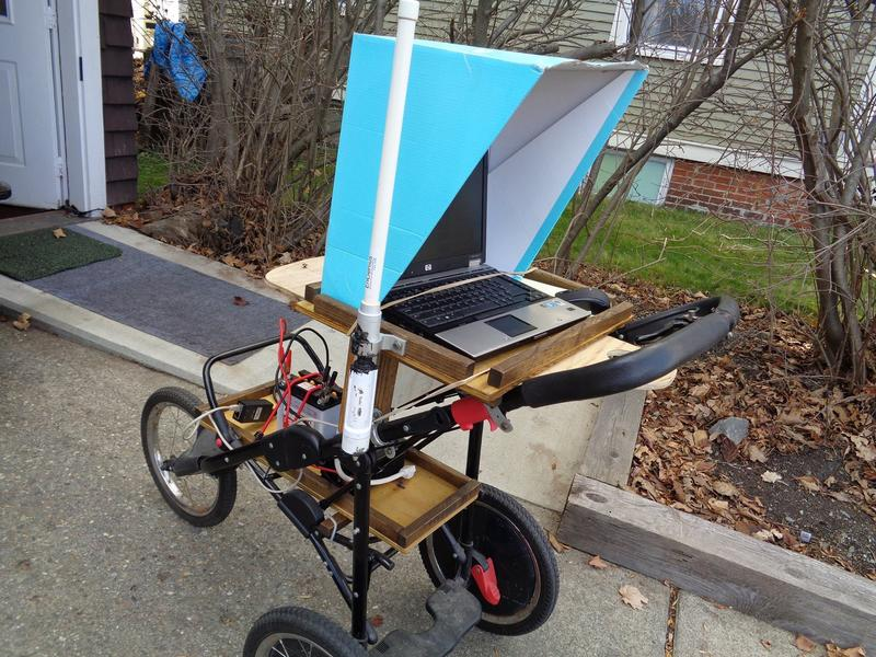 "A ""mesh buggy"" used by the Newport Wireless Mesh project to test reception throughout the neighborhood. The group has just completed a pilot project that provided a handful of local families with low-cost wireless internet."