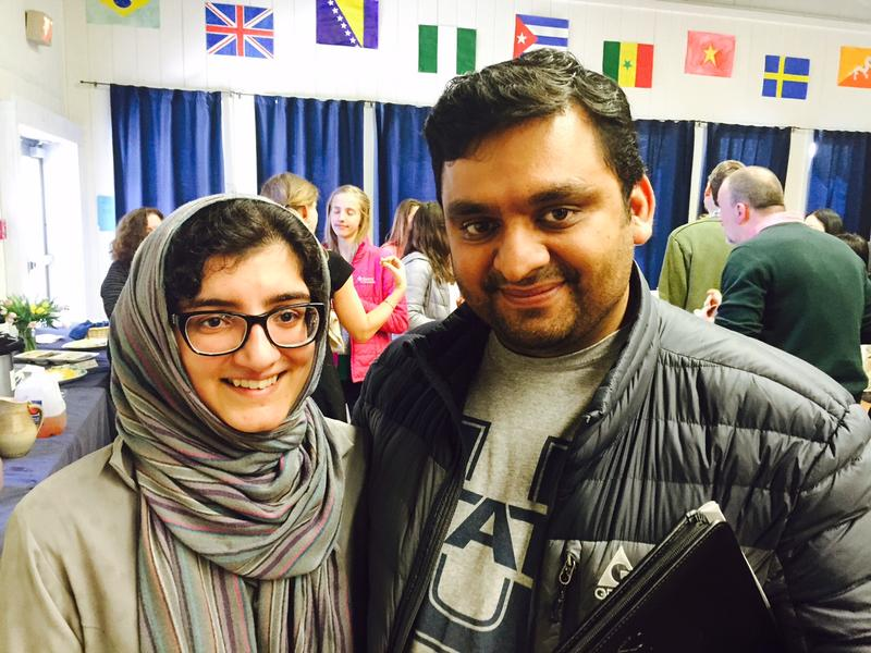 Hibba Rehman and her husband Danyal Karamatullah celebrate Hibba's new status as an American citizen at The Grammar School in Putney.
