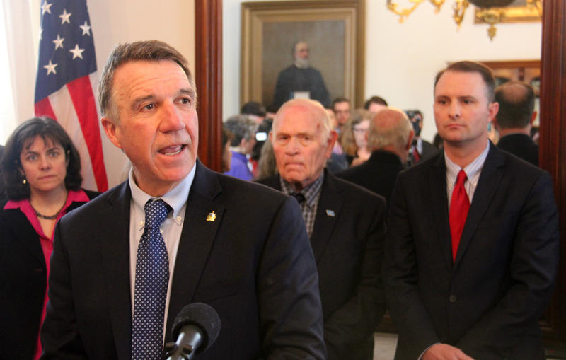 Republican Gov. Phil Scott commended the Legislature's work to to defend against federal overreach as House Speaker Mitzi Johnson, left, Senate Judiciary Committee Chairman Sen. Dick Sears and Attorney General TJ Donovan, all Democrats, looked on.