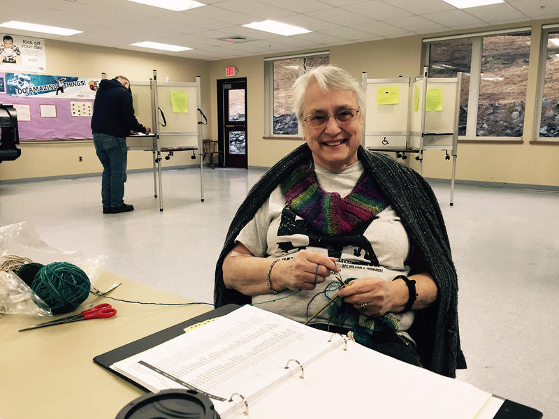 Marcia Dorey gets some knitting done while waiting for the next voter at the polls in Wilmington.