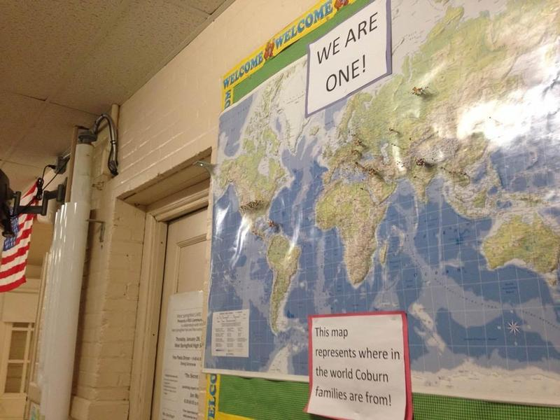 A map in the Philip G. Coburn Elementary School in West Springfield shows students' countries of origin.