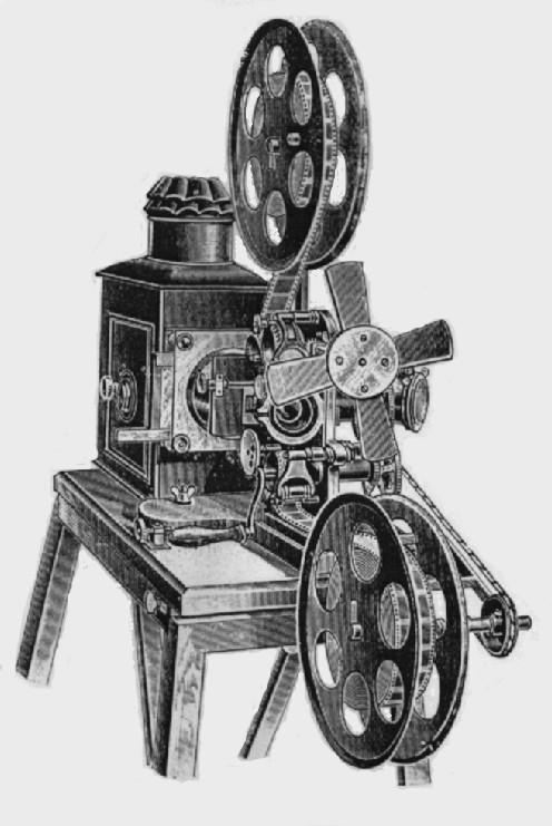 This film projector, called a bioscope, was used around 1900. The noise from this machine is what led movie houses to employ musicians to play live music during screenings.