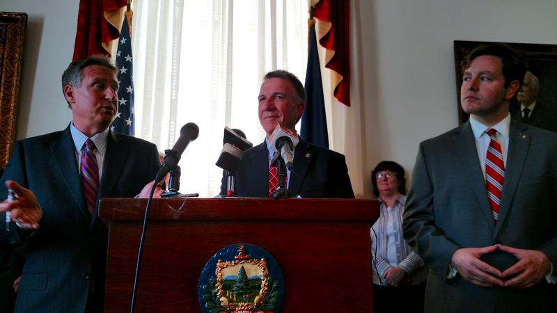 Michael Goldberg, the federally appointed receiver in charge of Jay Peak (left), Gov. Phil Scott (middle) and Commissioner of Financial Regulation Michael Pieciak (right) announce the new, $145.5 million settlement with Raymond James at a press conference