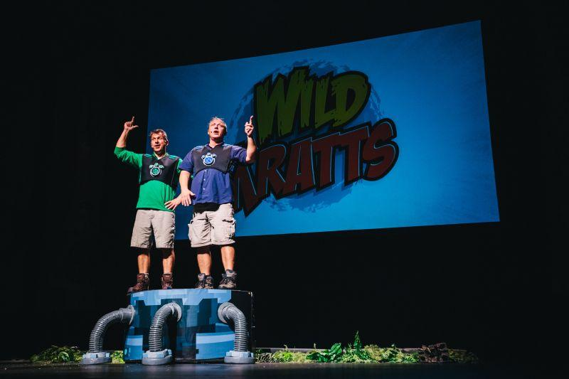 Chris and Martin Kratt performing their live 'Wild Kratts' show on stage.