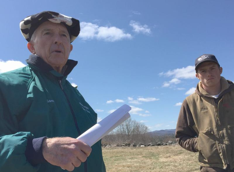 Developer Jesse Sammis, left, will sell his prime farmland to a conservation group that will sell it to Ayers Brook Goat Dairy, managed by Miles Hooper, right.