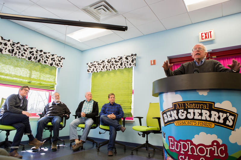 Sen. Sanders addresses a group of more than 70 Ben & Jerry's employees at the St. Albans factory.