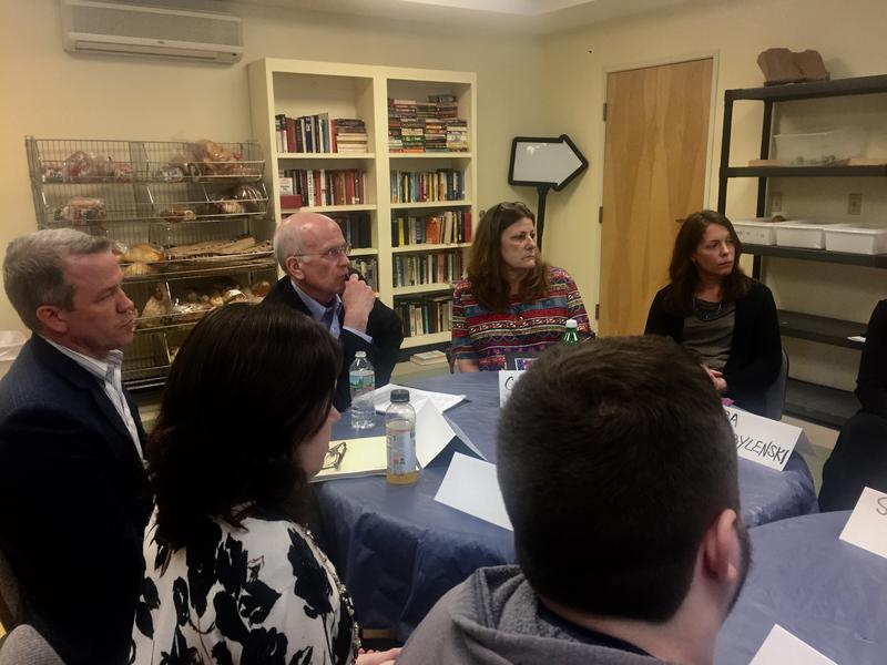 Rep. Peter Welch, center, discusses President Trump's proposed budget with leaders of social services in Upper Valley, who say their funding would be cut if the budget is approved by Congress.